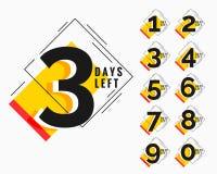 El número de días dejó la bandera moderna del estilo de Memphis ilustración del vector