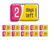 El número de días dejó la bandera promocional de la etiqueta libre illustration