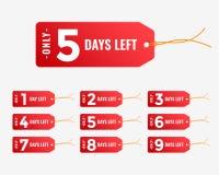 El número de días dejó la bandera roja de la etiqueta stock de ilustración