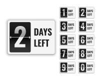 El número de días dejó la muestra en venta y la promoción ilustración del vector