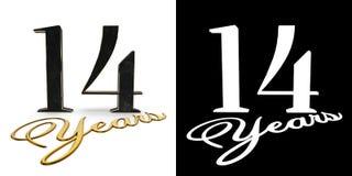 El número de oro catorce numera 14 y los años de la inscripción con la sombra del descenso y el canal alfa ilustración 3D stock de ilustración