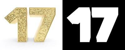 El número de oro diecisiete numera 17 en el fondo blanco con la sombra del descenso y el canal alfa ilustración 3D stock de ilustración