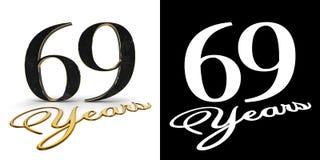 El número de oro sesenta y nueve numera 69 y los años de la inscripción con la sombra del descenso y el canal alfa ilustración 3D ilustración del vector