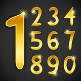 El número fijó en estilo de oro en fondo negro Fotografía de archivo