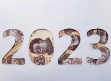 el número 2023 formó con los billetes de banco mexicanos en el fondo blanco Fotografía de archivo