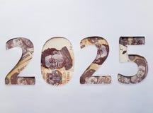 el número 2025 formó con los billetes de banco mexicanos en el fondo blanco Imágenes de archivo libres de regalías