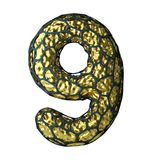 El número 9 nueve hizo de 3D metálico brillante de oro con la jaula negra aislada en blanco Foto de archivo