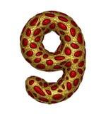 El número 9 nueve hizo de 3D metálico brillante de oro con el vidrio rojo aislado en el fondo blanco libre illustration