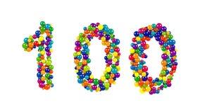 El número 100 para las celebraciones centenarias festivas Imagenes de archivo