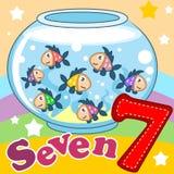 El número siete con un ejemplo Imagenes de archivo