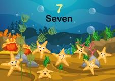 El número siete protagoniza pescados bajo vector del mar stock de ilustración