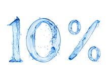El número 10 y la muestra del por ciento hicieron con un chapoteo del agua, aislado en un fondo blanco imagenes de archivo