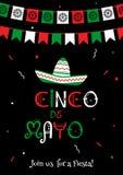 El nacional colorea el cartel de la fiesta de Mayo del cinco stock de ilustración