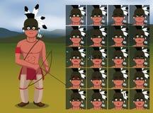 El nativo americano Archer Warrior Cartoon Emotion hace frente al ejemplo del vector Fotografía de archivo libre de regalías