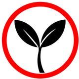 el 100% natural, producto orgánico, ecología, diseño de la naturaleza El verde se va, bio, señal de tráfico circular roja de la e ilustración del vector