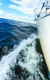 El navegar en el tiro severo del arco del barco de vela que salpica el agua fotos de archivo