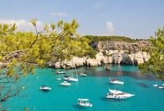 El navegar y navegación en Menorca Balearic Island Fotos de archivo libres de regalías