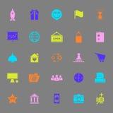 El negocio comienza para arriba iconos del color en fondo gris Imagenes de archivo
