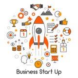 El negocio comienza para arriba la línea Art Thin Icons Set con Rocket e idea creativa Imagen de archivo libre de regalías
