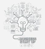 El negocio comienza para arriba los iconos de los garabatos del concepto fijados ilustración del vector
