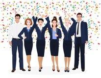 El negocio corporativo Team Enjoying Success y celebra novedades Confeti en el backgroud blanco alfa Fotografía de archivo