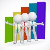 el negocio de los hombres blancos 3D y el gráfico de barra vector el ejemplo del icono de la imagen ilustración del vector