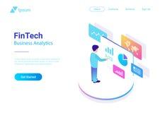 El negocio del hombre analiza isométrico virtual del mercado de los datos stock de ilustración