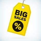 El negocio detallado del cuero amarillo etiqueta ventas grandes Imagen de archivo libre de regalías