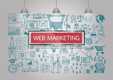 El negocio garabatea sobre el márketing del web en la pared con el marco y las lámparas transparentes rojos