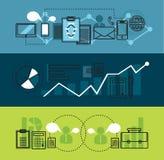 El negocio moderno y la oficina del márketing de la red equipan la línea plana bandera stock de ilustración