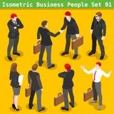 El negocio presenta a 01 personas isométricas Fotografía de archivo libre de regalías