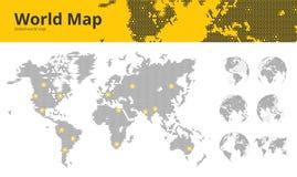 El negocio punteó el mapa del mundo con los centros marcados y los globos económicos de la tierra que mostraban todos los contine libre illustration