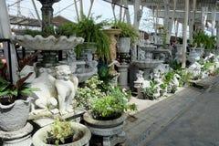 El negocio sobre tienda europea clásica del estilo del estuco y de la escultura hace compras para el hogar y cultivar un huerto d Imágenes de archivo libres de regalías