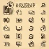 El negocio y el inicio grabaron los iconos fijados Fotos de archivo libres de regalías