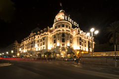 El Negresco Hotel by night, Nice, France Stock Photo