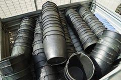 El negro buckets los cubos Fotografía de archivo libre de regalías