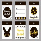 El negro de Pascua y las etiquetas de moda del oro fijaron, colección Diseño de carte cadeaux de pascua del vector para la impres Imágenes de archivo libres de regalías