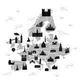 El negro del mapa de Europa stock de ilustración