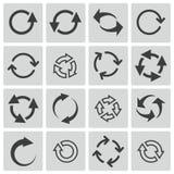 El negro del vector restaura iconos Imagen de archivo libre de regalías