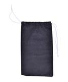 El negro empaqueta la tela blanca de la cuerda aislada Imagenes de archivo