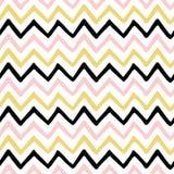 El negro inconsútil del amarillo del rosa del modelo de zigzag colorea el fondo Imagen de archivo