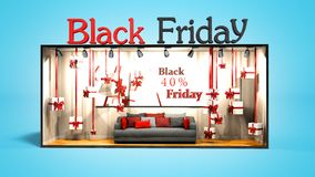 El negro moderno viernes del concepto en la tienda con los regalos y los descuentos 3D rinden en fondo azul con la sombra ilustración del vector