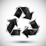 El negro recicla el icono geométrico hecho en el estilo moderno 3d, mejor para u Imagen de archivo libre de regalías