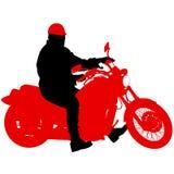 El negro siluetea al jinete del motocrós en una motocicleta Fotos de archivo
