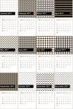 El negro y el jambalaya colorearon el calendario geométrico 2016 de los modelos Ilustración del Vector