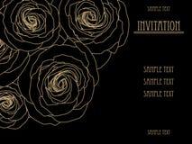 El negro y el oro wallpaper con las rosas grandes, tarjeta de la invitación del oro, modelo de la moda, diseño Fotografía de archivo libre de regalías