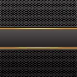 El negro y la etiqueta abstractos del oro en fondo de lujo del diseño de la malla negra del círculo modelan vector Foto de archivo libre de regalías