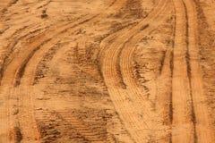 El neumático sigue impresiones en la arena Fotografía de archivo libre de regalías