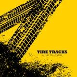 el neumático sigue marcas en fondo del amarillo del grunge libre illustration