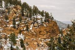 El nevar en Cheyenne Mountain Colorado Springs fotografía de archivo libre de regalías